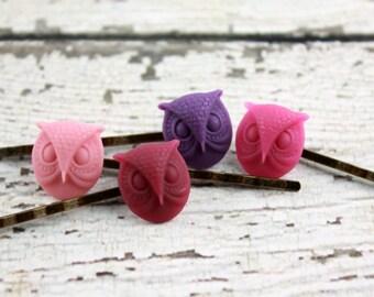 Owl Bobby Pins - Purple Owl - Pink Owl - Bobby Pins - Hair Pins - Purple Bird - Pink Bird - Night Owls - Wise Owls - Hooters - Barn Owls
