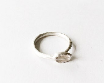 Silver tiny ring with mat texture