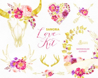 Love Kit Sangria. Burgundy and Gold arrangements, skull, antlers, watercolor, arrows, clipart, peonies, wedding, diy, flowers, glitter