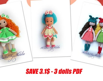 Crochet toy patterns 3in1 Set of crochet doll patterns Amigurumi crochet pattern PDF Crochet doll pattern Amigurumi doll pattern