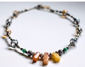Natural Stone & Czech Crystal Necklace