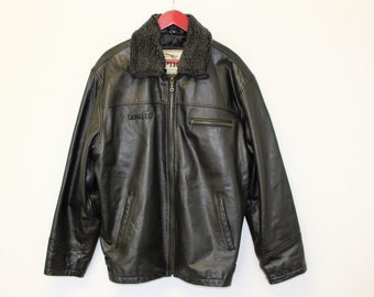 Leather Bomber Jacket SPIRIT ARISTOMANN Heavy Leather Mens Flyer Jacket Aviator Leather Jacket Racing Motorcycle Jacket  XL Size