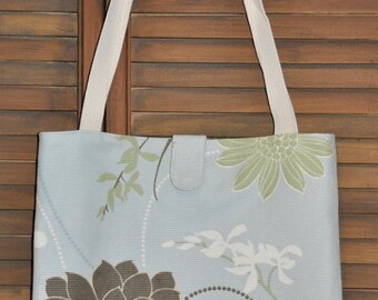 Pale Blue and Brown Dahlia Flower Tote