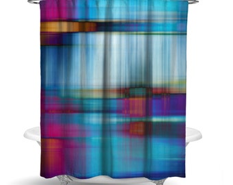 "Abstract Blue Printed Fabric Shower Curtain/  Bath Curtain / Standard Length (71""x74"" ) FABRIC SHOWER CURTAIN - Made To Order"