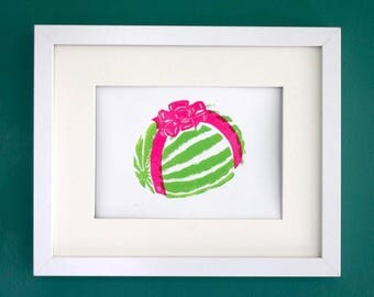 "Watermelon bow linocut print - original block print - green and pink fruit art - 5""x7"""