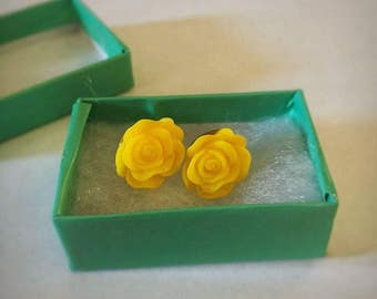 Sunshine Yellow Rose Earrings