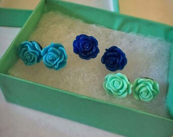 Three Pairs of Blue Rose Earrings
