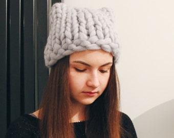 Mega chunky knit hat with giant. Big yarn. Hat. Merino wool