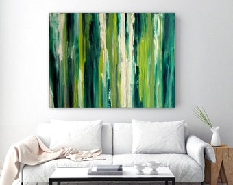 Large Green Abstract Painting - Original Canvas Artwork - Contemporary Art - Ready to Hang