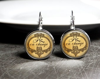 Paris Earrings Paris France Glass Earrings Inescapable Cycle of Life Quote Jewelry Fate Dangle Earrings Fate Quote French Jewelry Paris Gift