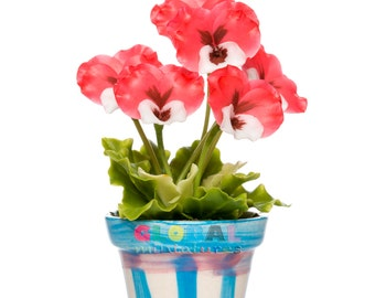 Dollhouse Miniatures Red Pansy in Fancy Flowerpot