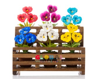 Dollhouse Miniatures Colorful Pansy Flower in Flowerpot on Wooden Shelf