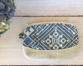 Purse Pouch Zippered made from Ankalia Gatsby Cobalt Wrap Scrap Wrapn2Lah Handmade FREE POSTAGE