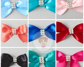 FAST Shipping!! Satin Bow with Rhinestones and Twist Ties in the back Package of 4