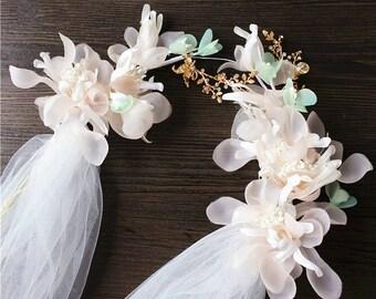 Ivory flower headband,flower wedding veil