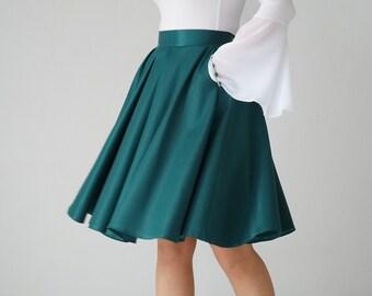 emerald full circle skirt, knee length, high waist, evening, ball, elegant, boden skater, green, pleated, bright, shiny, prom,  party