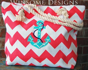 Boat Tote-Boating Tote-Tote for the Boat-Beach tote-Pool tote-Anchor-tote with an anchor-bag with an anchor-nautical-beach bag