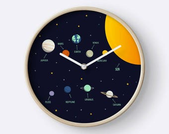 wall clock,nursery decor,nursery planets ,wall clock wood,wall clock modern,wall clock planets, modern clocks, clocks decor, solar system