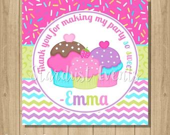 Cupcake Party Favor Tags, Cupcake Printable Favor Tags, Cupcake Birthday, Cupcake Thank You Tags, Cupcake Favor Tags