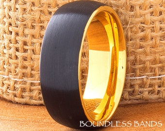 Tungsten Ring,Black And Yellow,Dom,Mens Ring,Mens Wedding Band,9mm His Hers,Comfort Fit,Anniversary,Promise,Wedding Ring,Mens Woman's,Ring
