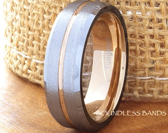 Tungsten Ring Tungsten Wedding Ring Men Women Wedding Band Promise Anniversary Engagement 7mm Tricolor Black Rose White Matching Ring Set