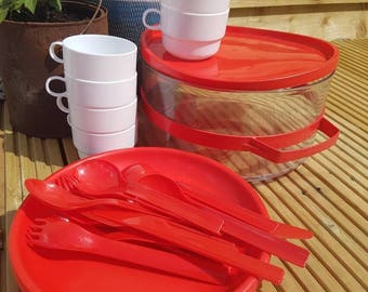 Retro picnic set. Red and white retro picnic set for 4 . campervan - vw - camping - festival