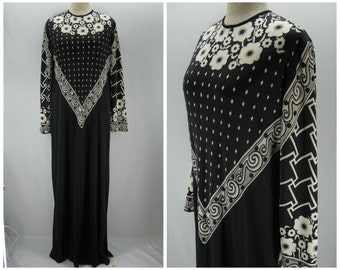 Vintage 70s Paganne dress, 70s black white maxi dress, Paganne maxi dress, Gene Berk, black white 70s dress, nylon Paganne maxi