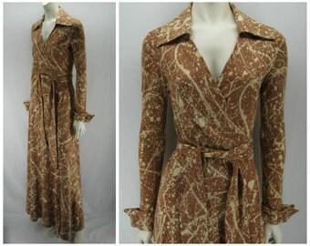 Vintage 70s DVF wrap dress, vintage 70s dress, Diane Von Furstenberg, 70s wrap dress, 70s dress, blue wrap dress, brown cream wrap dress