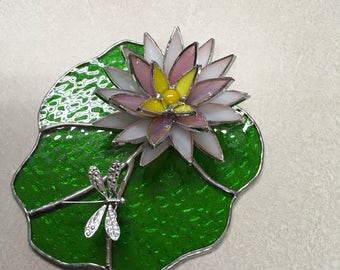 Stained Glass Lily Pad and Bloom