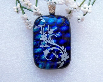 Dichroic Glass Pendant, Dichroic Glass Necklace, Fused Glass Jewelry, Dichroic Necklace, Image Pendant, Green Blue Dichroic, DP120216079