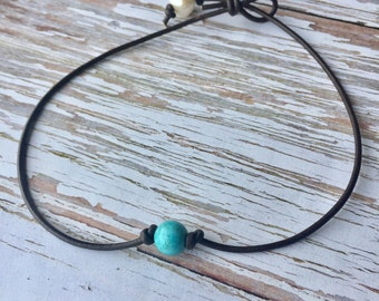 Turquoise and Pearl Leather Choker Necklace - Boho Chic