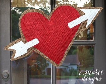 Valentines Day Heart Burlap Door Hanger