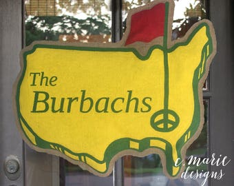 The Masters Burlap Door Hanger