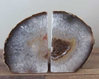 Natural Agate Bookends // Brazilian Geode Agate Bookends // High Quality Book Ends // GIFT Packaging Available