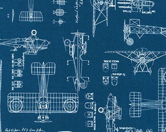 Aviation Fabric / Vintage Blueprints / Airplane Blueprint Fabric, Blueprints Robert Kaufman 15675 62 Indigo  / Fat Quarters and By The Yard