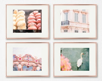 Blush Wall Art Set of 4, French Decor, Gallery Wall Prints, Paris Photography