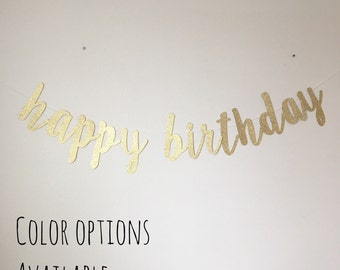 Gold Glitter Happy Birthday Banner Cursive Font-Birthday-Banner-Party Decorations