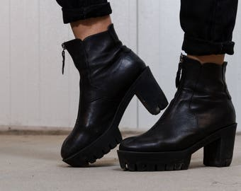 Vintage platform shoes / 90s leather boots / Vintage plateau shoes / 90s grunge boots / Women's vintage shoes / Platforms / Size 39