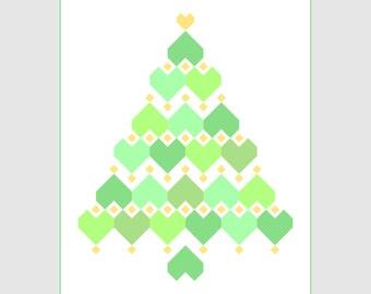 Christmas Hearts - Zigzag, Heart, Diamond Christmas Tree PDF Quilt Pattern. Large throw quilt plus Mini Quilt Pattern. Pre-cut friendly.