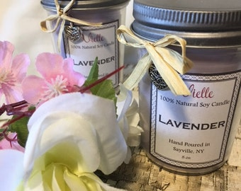 All Natural Handmade Soy Candle 8 oz Jelly Jar - Lavender Scent