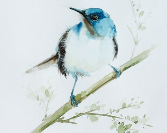 Blue bird, Bird watercolor painting, Bird art, Art print size 8X10 inch for room décor & valuable gifts