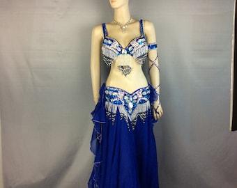 FREE SHIPPING Hand Beaded Belly Dance Samba Costume dark blue color bra+ belt +skirt+arm+neck 5 pcs tf1618