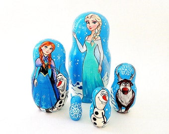 "Frozen 17 cm 7"" matryoshka nesting dolls, russian wooden cartoon-painted stacking dolls"