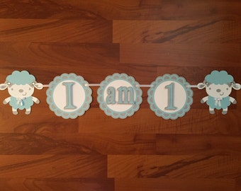 First Birthday Highchair Banner - Lamb Themed