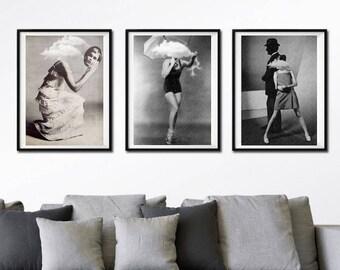 Set of 3 prints - black and white art, cloud art, surreal portrait, minimalist art, surreal collage art, woman art print, cloud wall art.
