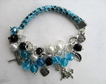 Boho Jewelry Boho Bracelet Beaded Bracelet  Leather Bracelet Charm bracelet Gift Bohemian Jewelry BOHEMIAN Stackable bracelet Popular Blue