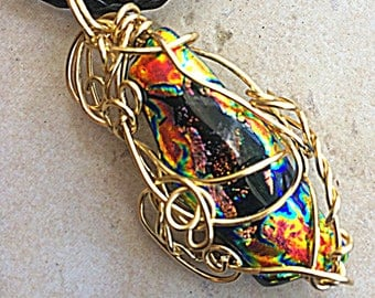 Incredible Dichroic Fused Glass Pendant, Colorful, Wire Wrapped, Swirls, Gold Tone Wire, Art Glass, Wearable Art, Dichroic Necklace, Fantasy