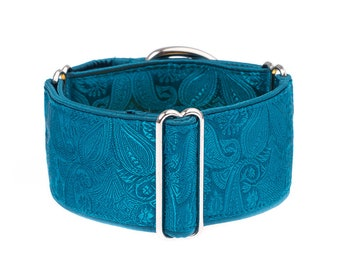 1,5 inch Martingale collar, dog collar,whippet collar, greyhound collar,turquoise,martingale