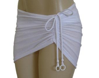 """Beach cover up """"Slidding"""", sheer drawstring skirt, short skirt, bikini cover-up, see-through cover ups."""