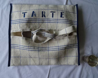bag tart in rustic old linen, with a thin blue stripe vintage;